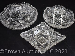 3  American Brilliant Cut Glass mint candy dishes