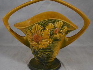 Roseville Peony 379 12  basket  yellow green