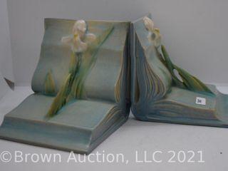 Pr  Roseville Iris bookends  blue