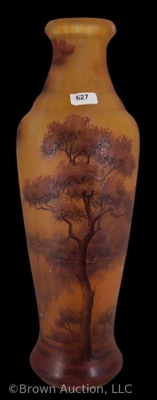 Signed Daum Nancy Cameo Glass 14  vase  landscape lake scene at sunset