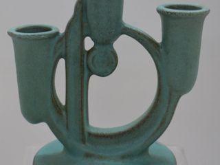 Roseville Moderne 1112 5 5  candle holder  turquoise
