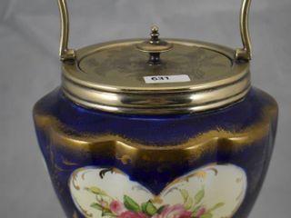 Cobalt hand painted porcelain biscuit  cracker jar  silver collar handle and Hallmarked lid