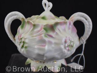 R S  Prussia Sunflower Mold sugar bowl w lid