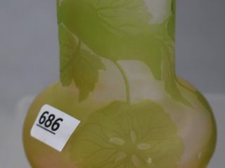 Signed Galle Cameo Glass 4 h cabinet vase