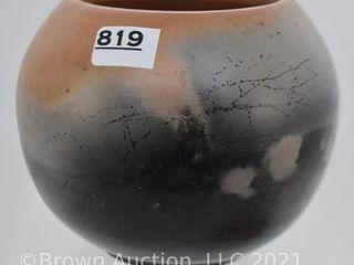 Pottery 3  brown rose bowl vase
