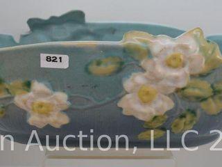 Roseville White Rose 394 14  console bowl  blue