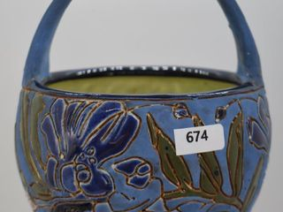 Mrkd  Teplitz Stellmacher Austrian Amphora 7  blue basket