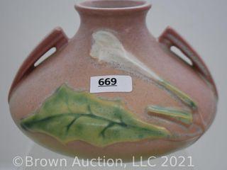 Roseville Thornapple 808 4  vase  pink