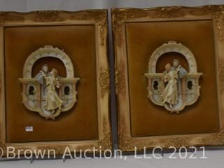 Pr  German bisque hand painted relief framed wall plaques  courting couples