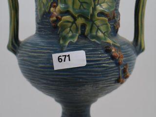 Roseville Bushberry 156 6  vase  blue