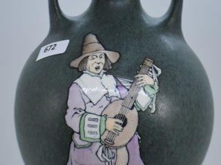Mrkd  Teplitz Stellmacher Austrian Amphora 7 5  jug vase  green