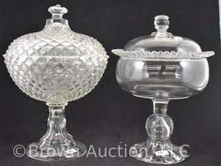 2  Pattern glass tall covered compotes