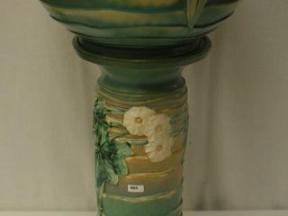 Roseville luffa 631 10  jardiniere and pedestal  green