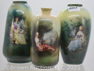 2  Unm  RSP 4 5  vases and  1  mrkd  Germany 4  bottle vase
