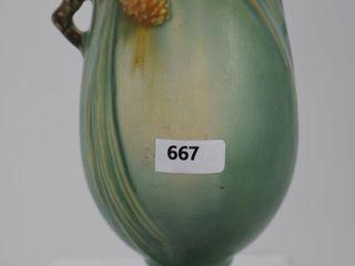 Roseville Pine Cone 840 7  vase  green