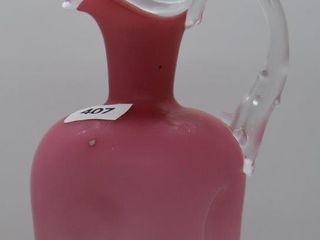 Pink cased glass 7 5 h cruet