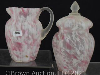 Ribbed pink and white spatter frosted satin glass 5  creamer and cov  sugar