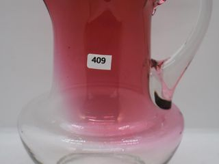 Victorian clear to cranberry 8 5 h pitcher