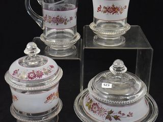 EAPG 4 pc  Table   cov  butter  creamer and cov  sugar and spooner