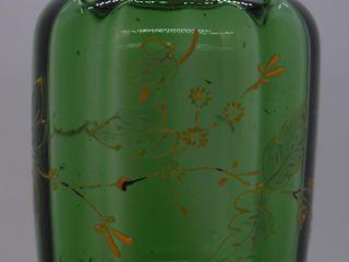 Green Victorian 5 h handled jam jelly jar