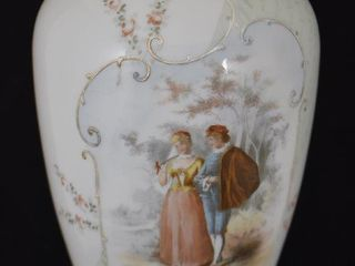 Victorian white Bristol Glass 12 5  vase with hand painted couting scene