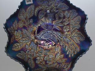 Carnival Peacock and Urn Blackberry 8 5 d bowl  cobalt