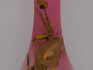 Victorian pink satin 12 h vase decorated with green floral leaves