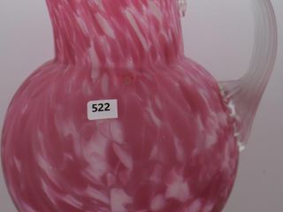 Victorian pink spatter glass 8 5 h water pitcher