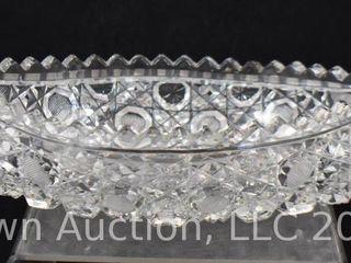 American Brilliant Cut Glass 11 l canoe boat dish in Cane motif