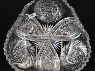 American Brilliant Cut Glass 9 5 d triangular shaped bowl