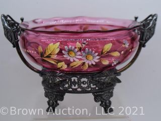 Victorian enameled Cranberry 6 d bowl atop a very ornate ftd  holder