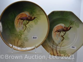 2  Mrkd  R S  Germany 8  plates  Bird of Paradise