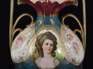 RSP Royal Vienna 6 5  handled vase featuring Potocka portrait in medallion