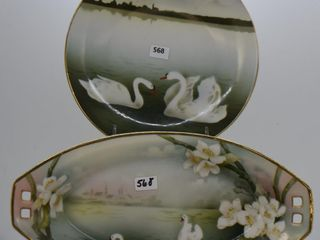 2  Mrkd  R S  Germany pieces decorated with Swans