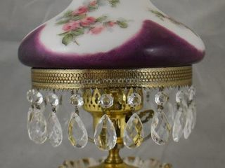 R S  Prussia Tiffany cracker jar made into elec  lamp with milk glass shade