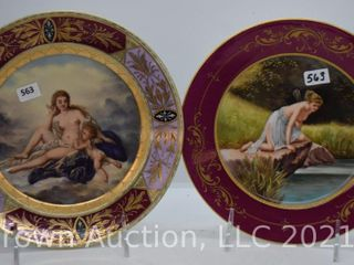 2  Royal Vienna beehive 8 d hand painted plates