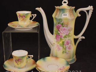R S  Prussia 9  demitasse pot   2  cups and  4  saucers  red mark