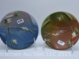 2  Roseville Snowberry 1AT ash trays  blue and brown green