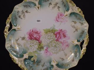 R S  Prussia Point and Clover Mold 10  cake plate