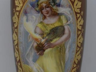 Mrkd  Prov Saxe ES 14  vase  rare Goddess of Fire portrait