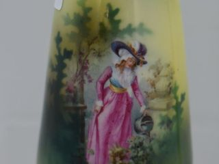 R S  Prussia 4 5  vase  lady with watering can