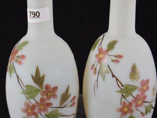 Pair of 6 5  white satin bud vases