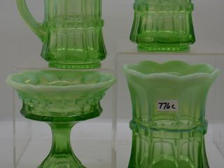 4  EAPG Green opal  Regal table pieces