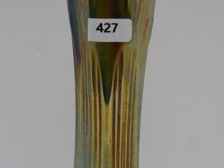 Carnival Diamond and Rib 11 h vase  green