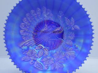 Carnival Peacock on the Fence 9 d plate  cobalt