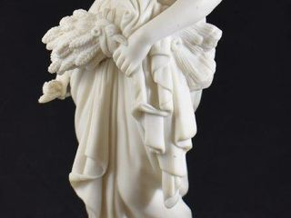 Bisque sculpture of women carrying sheaf of wheat  14  tall