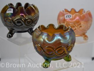3  Carnival Beaded Cable rose bowls