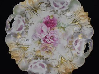 R S  Prussia Iris Mold 10 5  cake plate