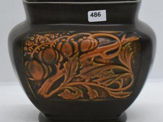 Roseville Rosecraft Panel 6  pillow vase  brown