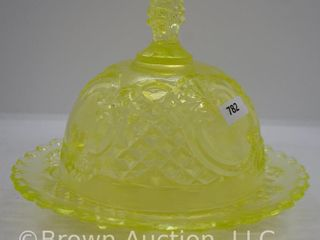 Vaseline glass round covered Butter Dish